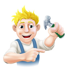 construction guy pointing vector image