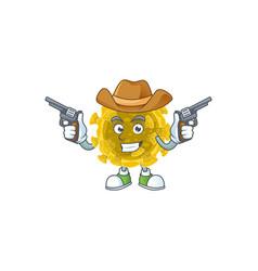 cool cowboy infectious coronavirus holding guns vector image