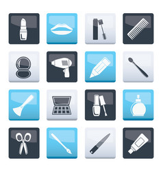 cosmetic make up and hairdressing icons vector image