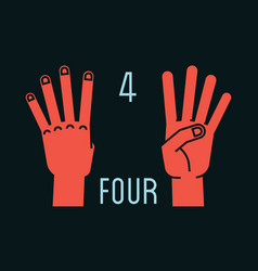 count on fingers number four gesture stylized vector image