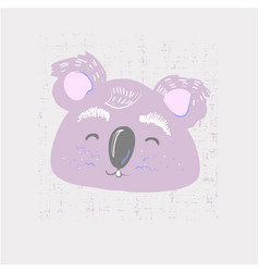 Cute coala face childish print for nursery kids vector