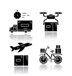 delivery drop shadow black glyph icons set vector image