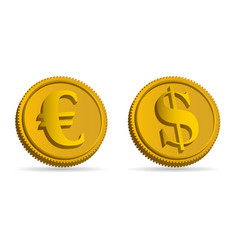Dollar and euro money 3d icon vector