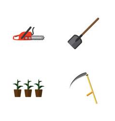 Flat icon farm set of shovel flowerpot hacksaw vector