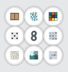 flat icon play set of backgammon xo dice and vector image