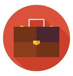 Flat Office Business Briefcase Circle Icon with vector