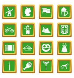 Germany icons set green vector