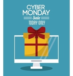 Gift computer and cyber monday design vector