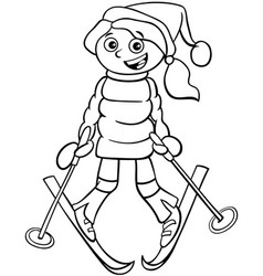Girl on ski cartoon coloring book page vector