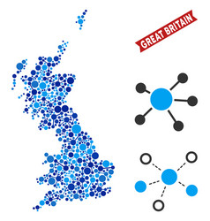 Great britain map links composition vector