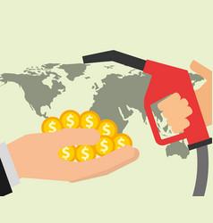 Hand dispenser gasoline money and world oil vector