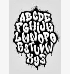 Handwritten graffiti font alphabet volumetric vector