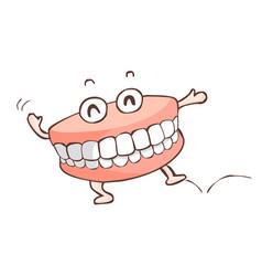 Happy denture dancing show vector