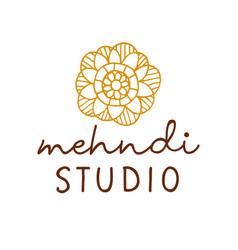 Henna mehndi logo traditional mandala vector
