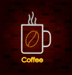 hot coffee mug on neon sign on brick wall vector image