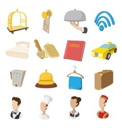 Hotel cartoon style icons set vector image