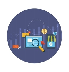 Icons for mobile marketing online shopping vector image