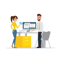 Image of the man and woman at their working place vector