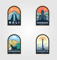 indonesian travel logo set vintage design vector image