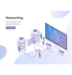 landing page template data networking vector image
