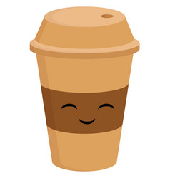 light brown smiling coffee cup to go on white vector image
