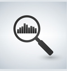 magnifier glass and chart icon vector image