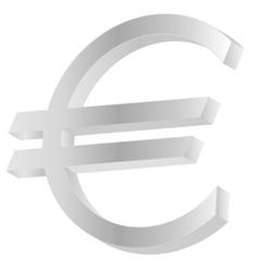 Metallic euro sign vector