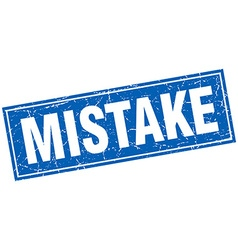 Mistake blue square grunge stamp on white vector
