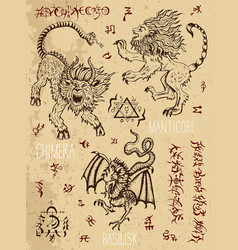 Monsters page with occult and mystic symbols vector