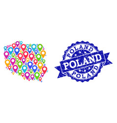 Mosaic map of poland with map pins and distress vector