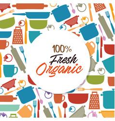 Organic label with kitchen utensils pattern vector