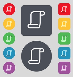 Paper scroll icon sign A set of 12 colored buttons vector