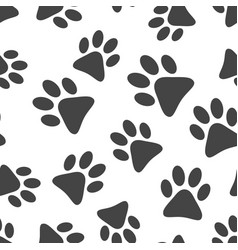 paw print icon seamless pattern background vector image