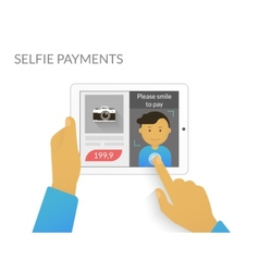 Payment with selfie vector