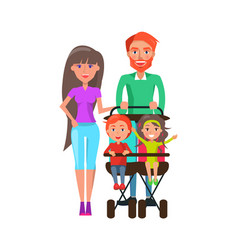 People walking with perambulator family pastime vector