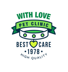 Pet clinic with love best care since 1978 logo vector