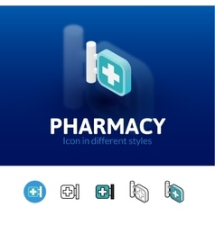 Pharmacy icon in different style vector image