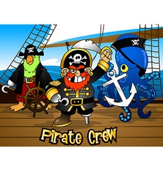 Pirate crew with the captain on a ship deck vector