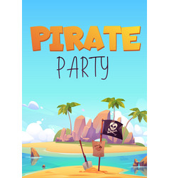 pirate party flyer with island and black flag vector image