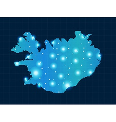 pixel Iceland map with spot lights vector image