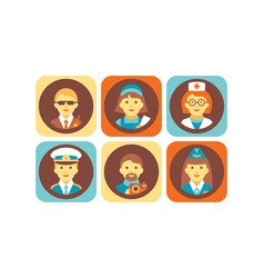 profession icons set bodyguard nurse doctor vector image