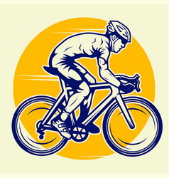 Professional cyclist riding a road bike vector