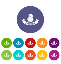 Protester hand icons set color vector