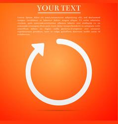 Refresh icon isolated on orange background vector