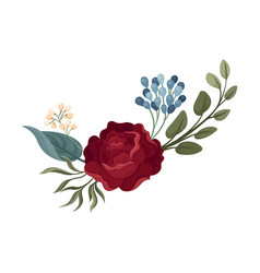 Rose among green leaves on a vector
