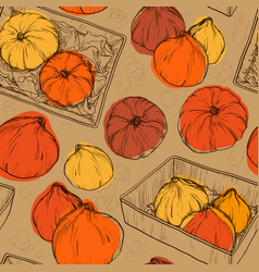 seamless pattern with pumpkin vector image