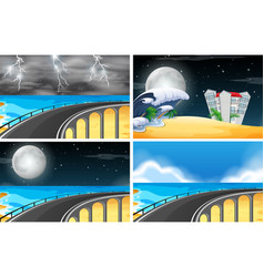 set of beach road vector image