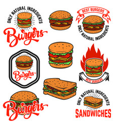 Set of burgers and sandwiches emblems isolated on vector