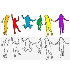 Set of children outline silhouettes jumping vector image