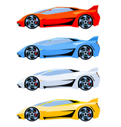 set of sport cars side view different colors vector image